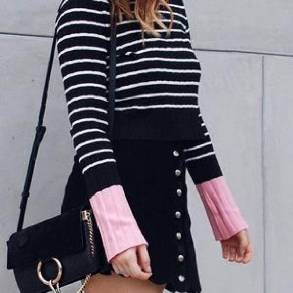 49941fd7 Zara Sweaters   Striped Knit Cropped Top Black White Pink   Poshmark
